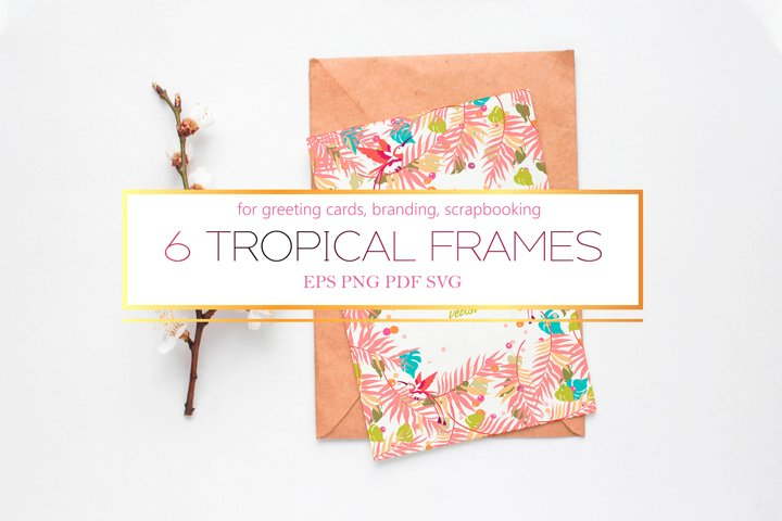 Tropical frames with clipart in 2020 trend pantone colors
