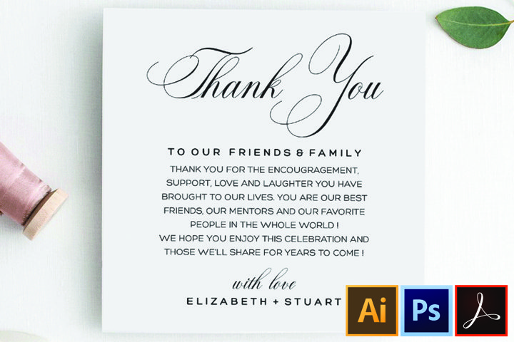 Printable Thank You Letter Template, Wedding Table Thank You