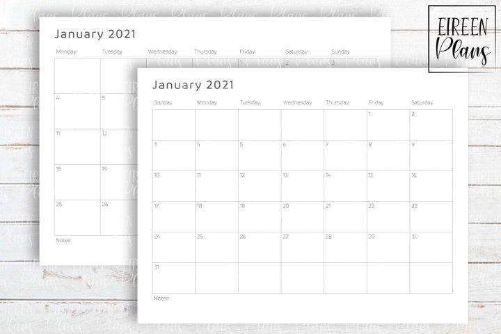 Printable 2021 write-on minimalist calendar