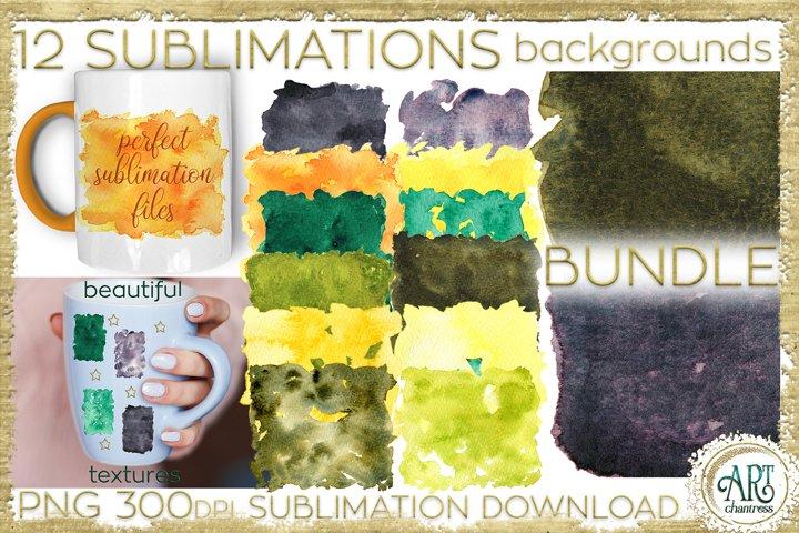 Sublimation BUNDLE Warm Set Watercolor backgrounds PNG