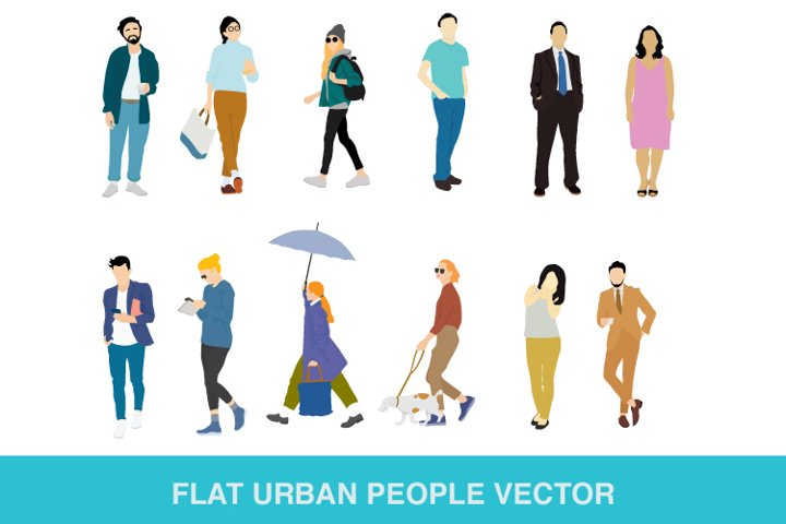flat urban people vector
