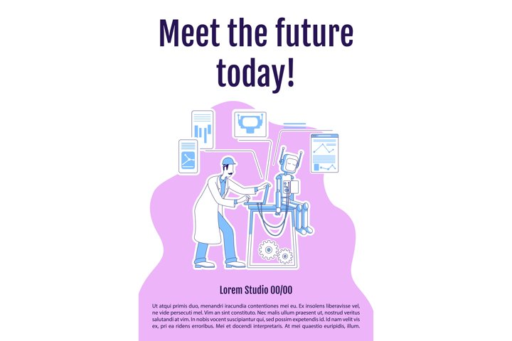 Meet future today poster flat silhouette vector template
