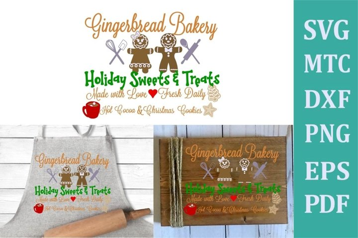 Gingerbread Bakery Christmas Sign #01 SVG Cut File