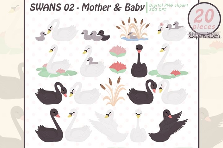 Cute SWANS clipart, Mothers Day, Swan family, Baby animals