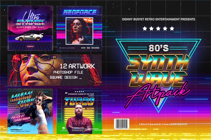 80s Synthwave Square Artpack