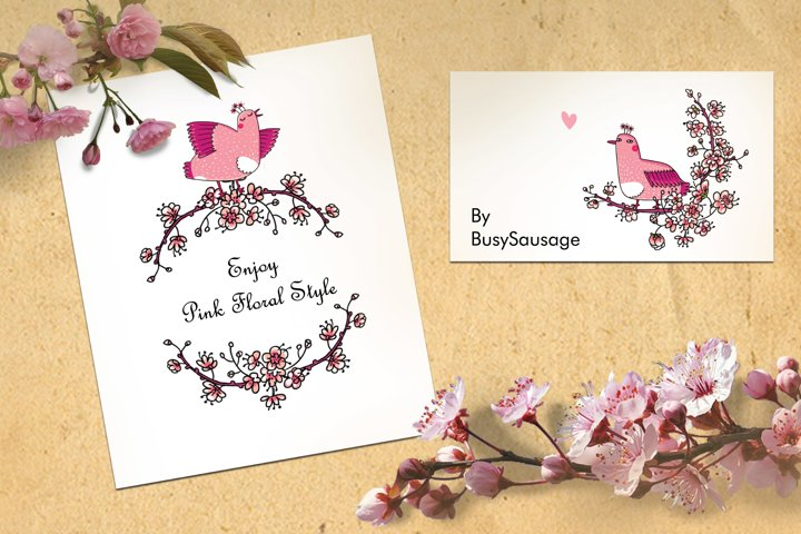 Pink Japanese Bird - Floral set example 5