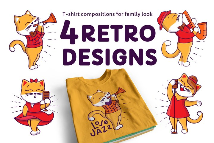 Retro cats. T-Shirt Designs