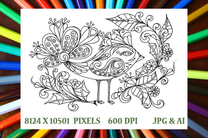 Fancy Bird Coloring Book Page/Poster