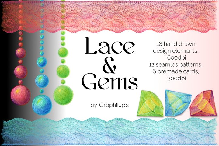 Lace and Gems - Hand-drawn Illustration Kit