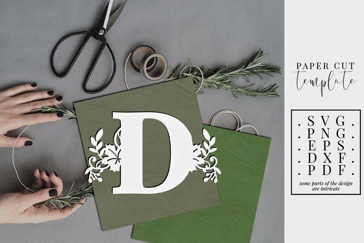 Autumn letter D, single initial paper cut template, fall SVG