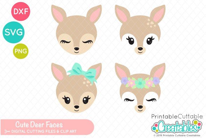 Cute Deer Faces SVG Set