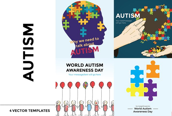 Autism- 4 Vector Templates