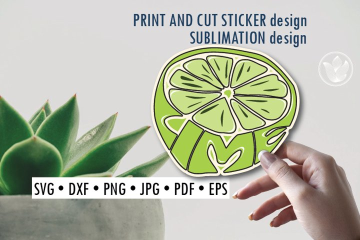 Lime Print and cut sticker, Sublimation design