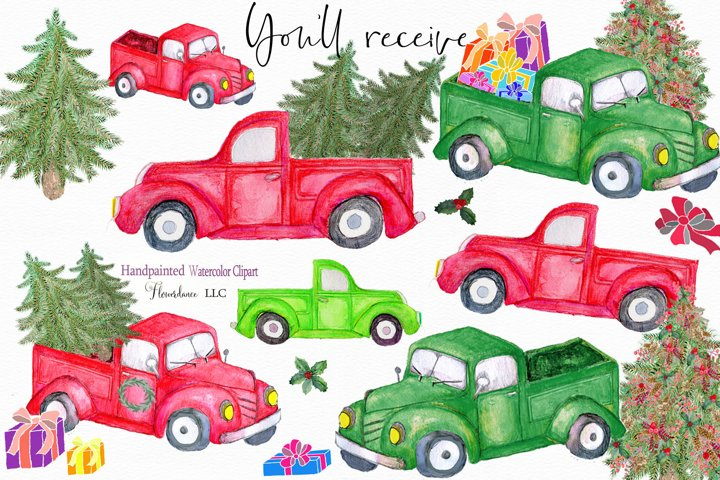 Watercolor Red Truck Clipart, Christmas Farm Trucks
