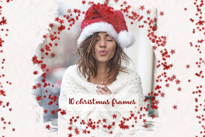 Christmas Star & Hearts Photo Frame Overlays