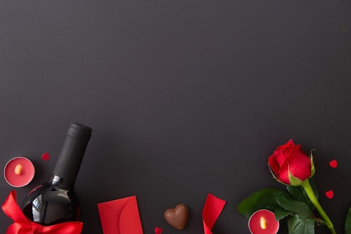 Valentines day background, romantic, love flat lay