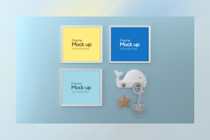 Three kids Photo Frame Mockup design with fish hanger