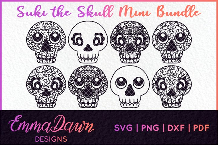 SUKI THE SKULL BUNDLE SVG HALLOWEEN MANDALA ZENTANGLE DESIGN