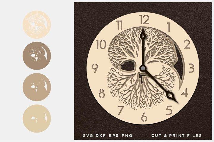 Wall Clock SVG, Cut file Mandala, Cut multilayer Mandala, 3D
