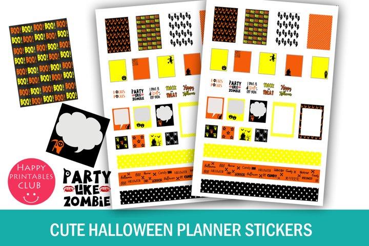 Cute Halloween Planner Stickers- Printable Halloween Sticker