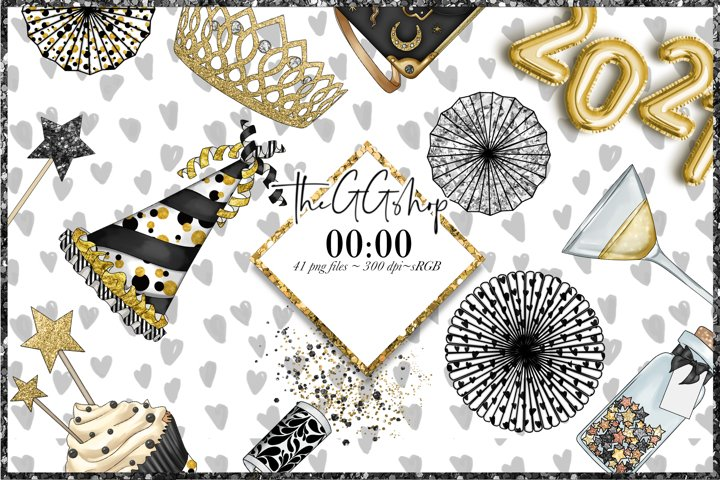 New Year Part Png Clipart Set