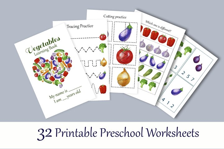 Toddler Learning Workbook. Vegetables busy book.
