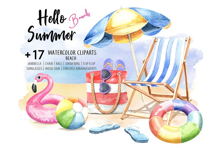Hello Summer Beach. Watercolor Beach