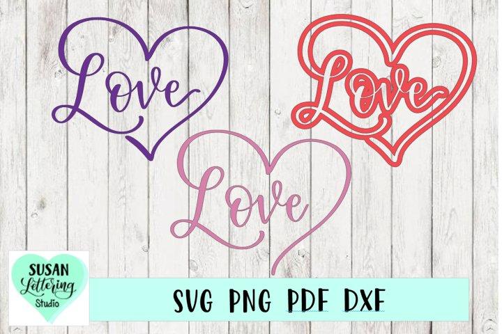 Love Heart Bundle, Hand lettered Heart Love 3 Designs, Love