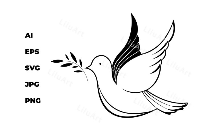 White dove with an olive branch. National Day of Peace.