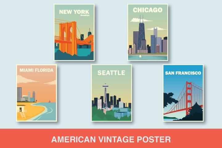 american flat vintage poster design