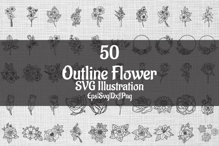 Outline Flower SVG Illustration