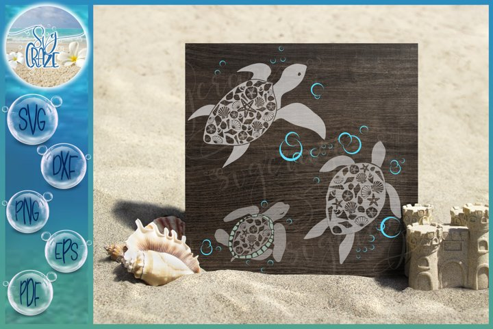 Seashell Turtle Family SVG