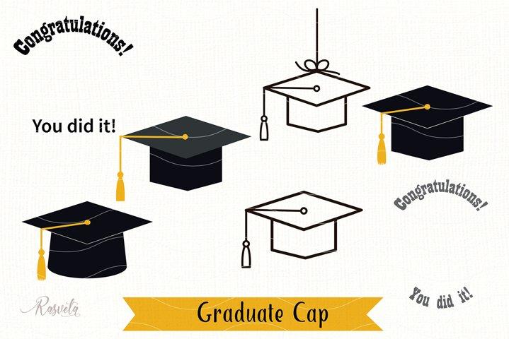 Silhouette Graduate Cap Clipart/ 2