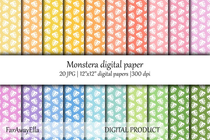 Monstera leaf JPG digital paper   20 seamless backgrounds