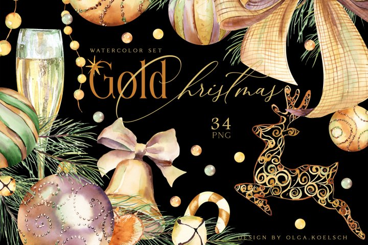 Gold Christmas decor clipart Watercolor Christmas png winter