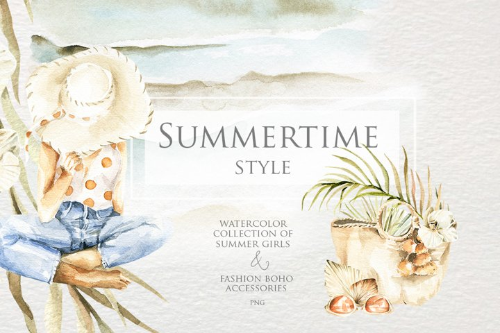 Summertime style. Watercolor collection