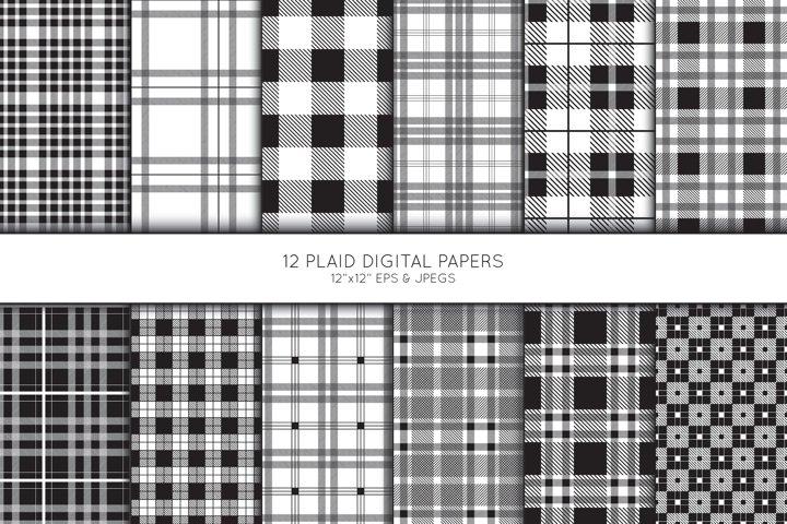 Plaid Digital Paper, Buffalo Plaid Scrapbook paper, check