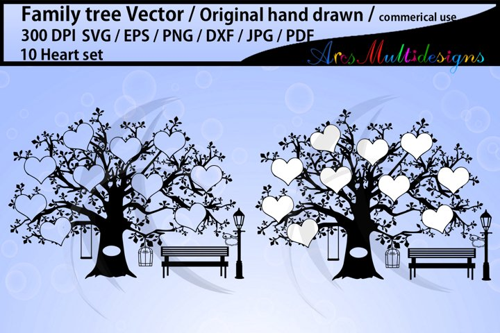 10 Hearts Family Tree SVG JPG pdf PNG Template. Printable