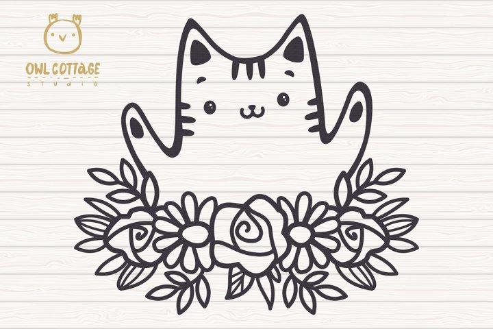 Valentine Cat svg , Kitten with floral decor Svg, Valentine' example 3