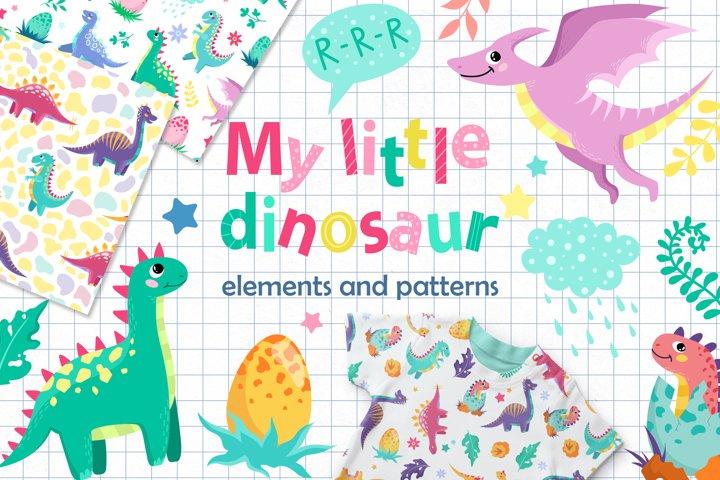 My little dinosaur. Elements and patterns set