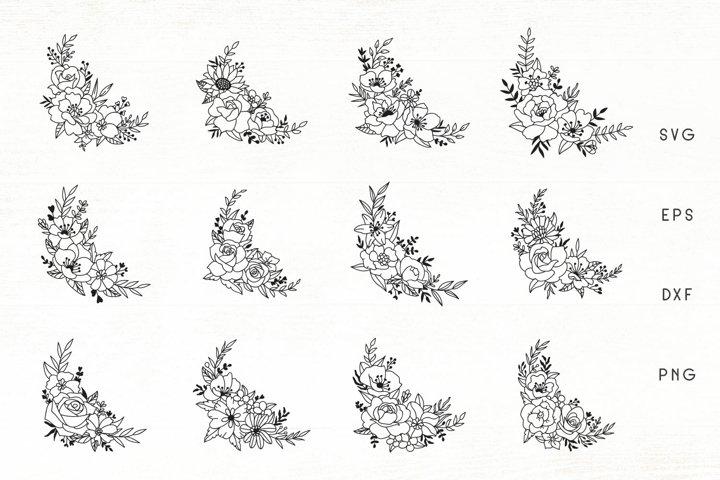 Flowers SVG Set of 12 - Flower Ornaments