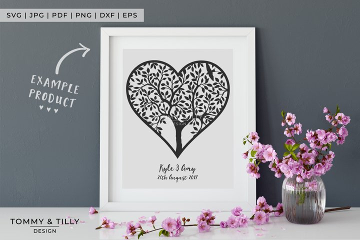 Heart Tree - Papercut Template SVG EPS DXF PNG PDF JPG example 5