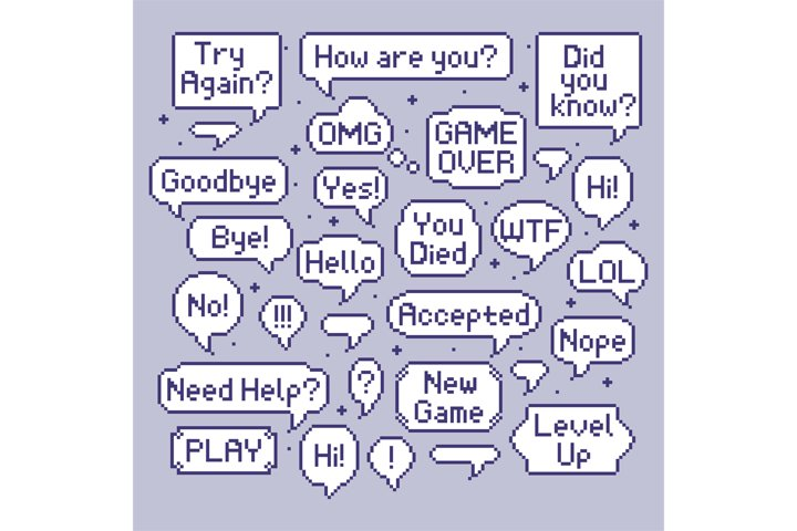 Pixel speech bubbles. Video game talk balloon, retro 8 bit s