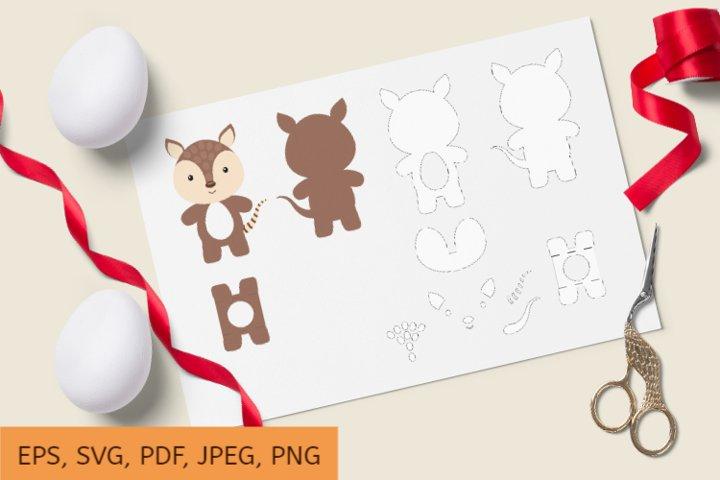 Cute Armadillo Chocolate Egg Holder Design, SVG Cutting File