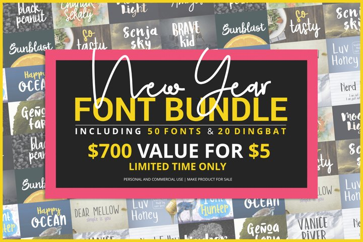 New Year Fonts Bundle