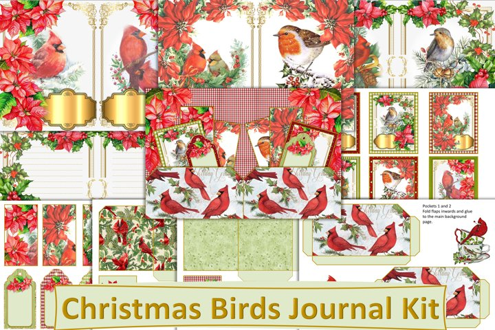 Printable Christmas Birds Journal Kit with free ephemera