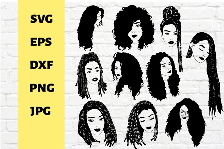 10 Black woman svg,black girl magic,cricut, braids clipart