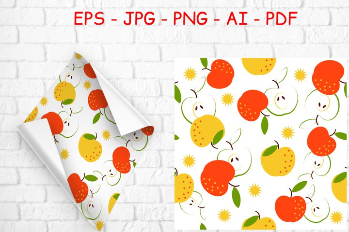 Seamless pattern with fruit red and yellow apples