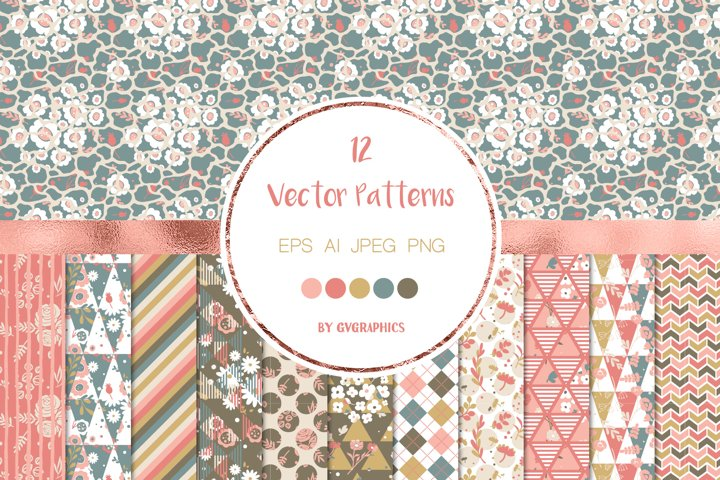 12 Flowers and Geometric Shapes, Vector Seamless Patterns