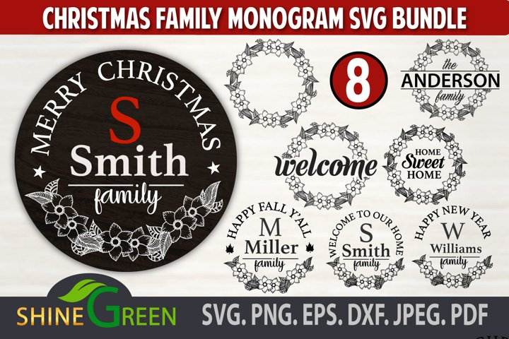 Christmas SVG Bundle, Monogram Bundle svg, Hand Drawn Flower